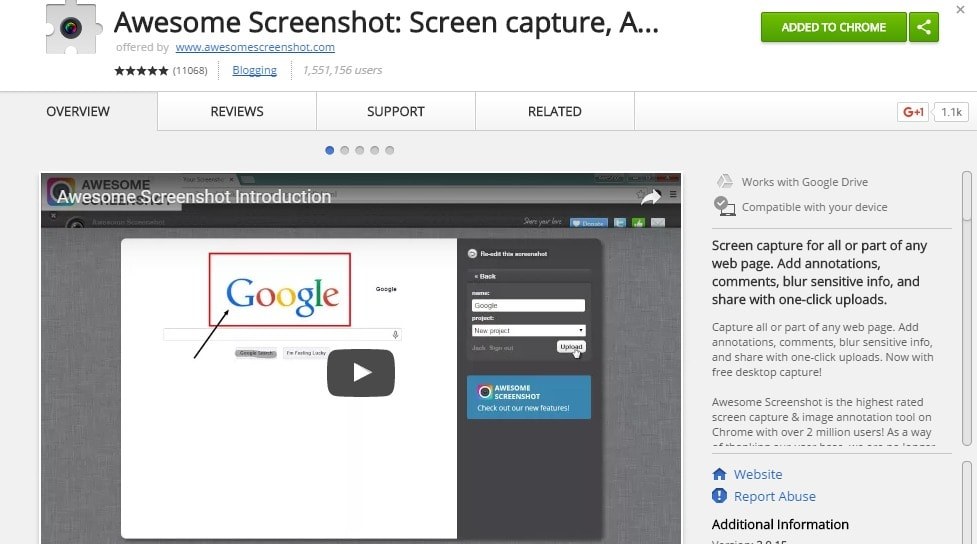 Awesome Screenshot Screen capture Annotate Chrome