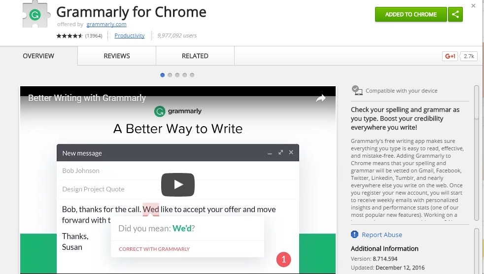 Grammarly for Chrome Chrome